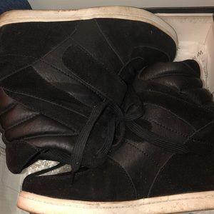 Black suede sneaker wedge